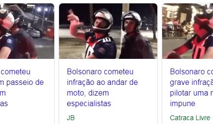 """Nem mesmo um casual passeio de moto de Bolsonaro foge dos """"especialistas"""" da grande midia"""