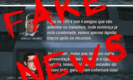 Página de esquerda com mais de 1 milhão de seguidores divulga conversa FALSA entre Moro Dellagnol, e rapidamente é desmascarada