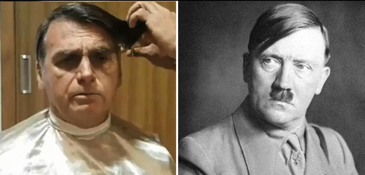 Tentando ligar a imagem de Bolsonaro a de Hitler, site petista faz comparação de corte de cabelo do Presidente do Brasil com o ditador alemão
