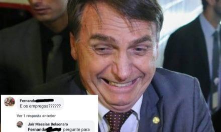 """Petista vai até página de Bolsonaro para questioná-lo sobre empregos, e ele responde na lata: """"Pergunte para quem te desempregou"""""""