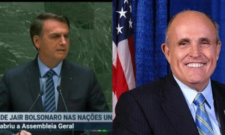 """Rudolph Giuliani, ex-prefeito de Nova York, rasga elogios a Jair Bolsonaro: """"Bolsonaro é um homem extraordinário, e o Brasil tem muita sorte em tê-lo."""""""