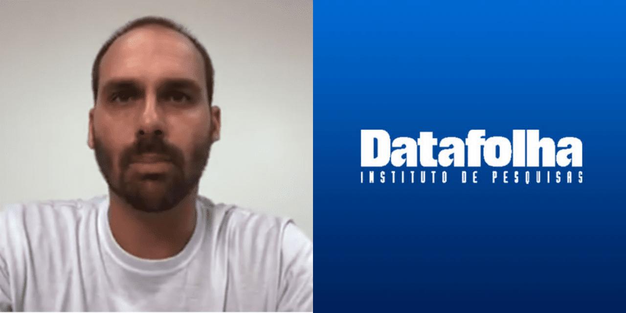 """Eduardo Bolsonaro detona Datafolha: """"É um desrespeito com as pessoas acharem que elas são bobas de acreditar no Datafolha"""""""