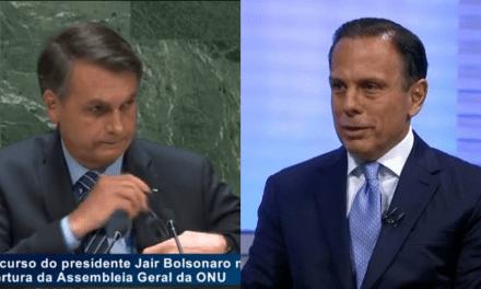 """Após discurso brilhante de Bolsonaro na ONU, João Doria parte para o ataque: """"inoportuno e inadequado"""""""