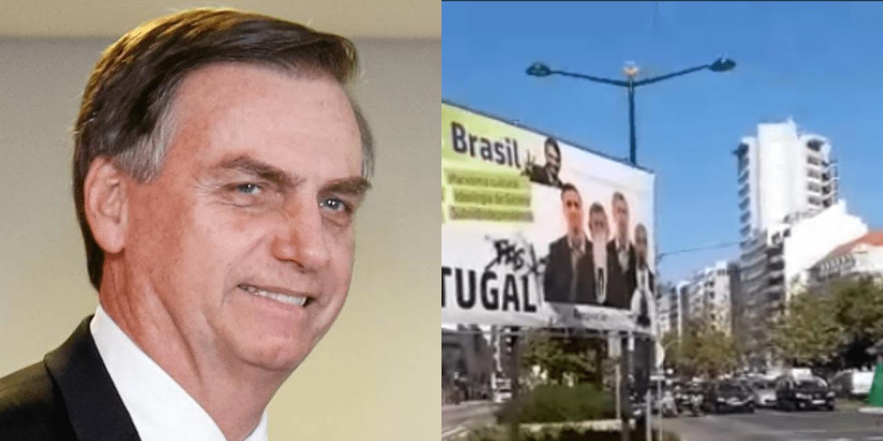 """Vídeo: Portugueses montam outdoor parabenizando Brasil por eleger Bolsonaro, e afirmam: """"Agora falta Portugal"""""""