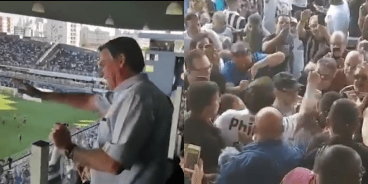 Vídeo: Bolsonaro vai a jogo do Campeonato Brasileiro, vai até o povão, e é ovacionado pela torcida do Santos