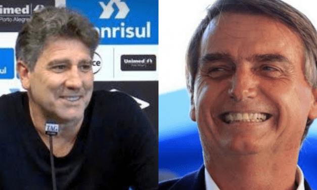 """Sem medo de ser criticado pela imprensa, Renato Gaúcho, técnico do Grêmio, rasga elogios a Bolsonaro: """"Se alguém vai mudar o país é o Bolsonaro"""""""