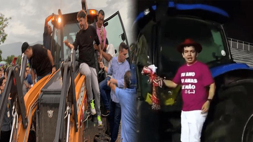 """Em cima de um trator, Randolf Rodrigues grava vídeo de apoio a Cid Gomes: """"Vou ajudar aí"""""""