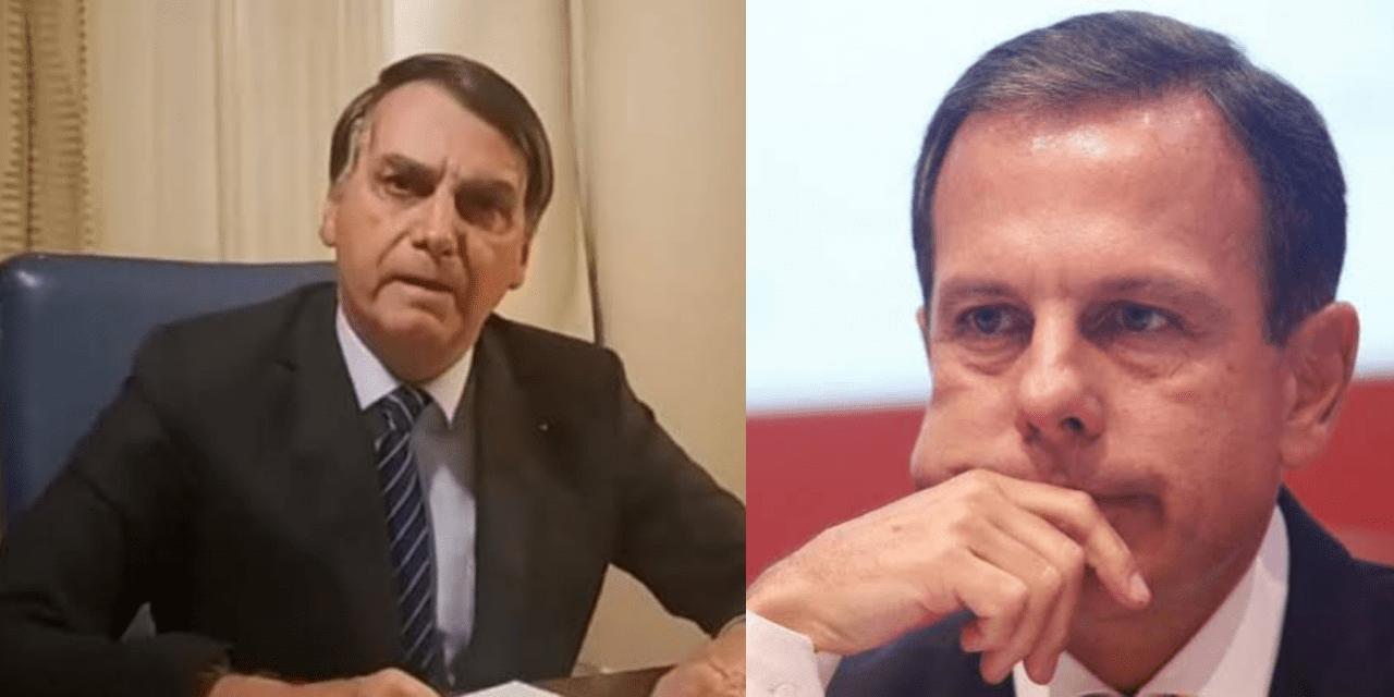 """""""Subiu à sua cabeça a possibilidade de ser presidente da República. Vossa excelência não é exemplo para ninguém"""" diz Bolsonaro à Doria"""